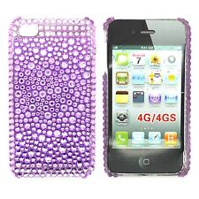 Strass Viola Custodia rigida POSTERIORE GEMMA PER APPLE IPHONE 4/4S