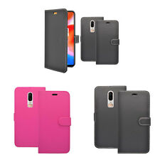 For OnePlus 6 Wallet Book Flip In Various Colours Case Cover