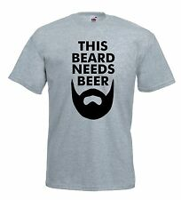 T-shirt This Bear needs Beer J806 Maglietta Barba Moustache Maglia Hipster