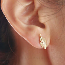 FEATHER STUD EARRINGS in Silver, Gold or Rose Gold Plate. 5.5mm. Leaf. Small.