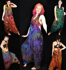 Tie Dye Harem Dungarees Hippie Bohemian Baggy Jumpsuit Brand New by Bare Canvas