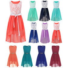 Girl's Asymmetrical Lace Chiffon Dress Wedding Bridesmaid Pageant Gown Dresses