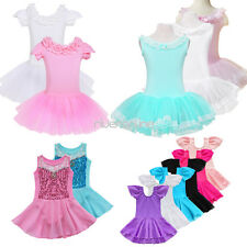 Girls Gymnastics Dancing Ballet Dress Kids Party Dancewear Leotard Tutu Skirt UK