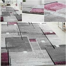 Large Living Room Rug 3D Contour Cuts Thick Carpet Modern Hall Runner Grey Mat