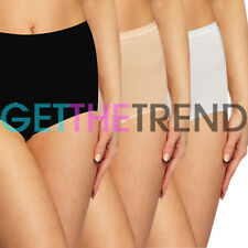 New 3,6 Pack Womens Knickers Plain Maxi Briefs Ladies Nude Underwear Cotton Lace