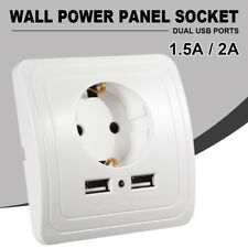 Dual USB Ports Electric Wall Charger Adapter EU Plug Socket Power Outlet Panel