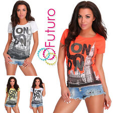 Casual T-shirt con paillettes LONDON GIROCOLLO STAMPA PARTY