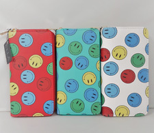 Ladies Multi Coloured Smiley Face Zip Around Purse Woman's Summer Zipped Wallet
