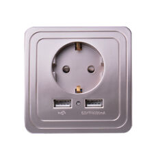 Wall Charger Adapter EU Plug Socket Power Outlet Panel Dual USB Champagne Silver