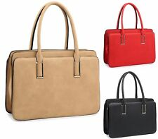 WOMENS FAUX LEATHER FASHION TWIN HANDLE ZIP LAPTOP BAG SHOULDER HANDBAG