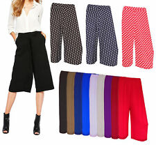 Ladies 3/4 Length Short Palazzo Trousers Causal Wide Dots Leg Culottes Pants