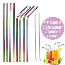 8x Reusable Rainbow Stainless Steel Metal Drinking Straw Straws & Cleaning Brush