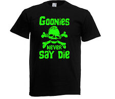 GLOW IN THE DARK GOONIES NEVER SAY DIE T-shirt AGE 3 UPTO XXL 80S RETRO MOVIE