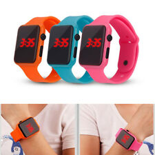Digital LED Silicone Square Wrist Watch Touch Screen Unisex Boys Girls Men F74D