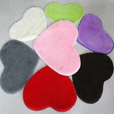 Bathromm Door Heart-Shaped Carpet Floor Mat Plush Cushion Pad Shaggy Rug 663F