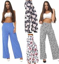 Womens Ladies Stripe Floral Print Wide Leg Palazzo High Waisted Trousers UK 8-14