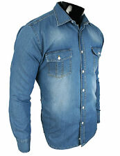 Rock Creek Camisa Vaquera Denim Manga Larga Azul Stonewashed RC-04 Nuevo