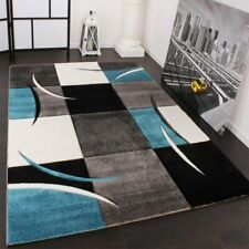 Luxury Living Room Rug Modern Turquoise Grey Black Carpet Home Bedroom Highlight