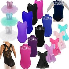 Girls Gymnastics Dancing Dress Kids Ballet Tulle Skater Dancewear Leotard Skirt