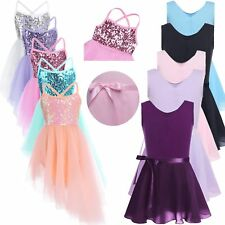 Girls Kids Camisole Ballet Dance Dress Leotard Gymnastics Tutu Dancewear Costume
