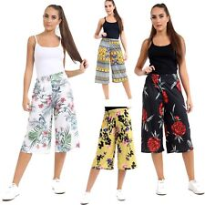 Womens Ladies Multi Floral Print Cropped Culottes Wide Leg Trousers Size UK 8-26