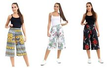 Ladies Printed Causal Wide Leg Culottes Shorts Trousers Pants Size UK 8-26