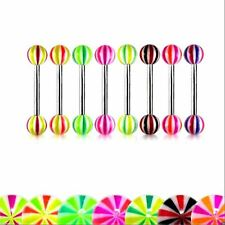 Tongue Nipple Barbell UV Tri Colour Steel Earring Body Piercing Bars 14g 16mm
