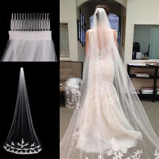 White Ivory 1T Cathedral Applique Edge Lace Bridal Wedding Veil With Comb 3M WR