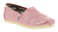 Toms Classic Youth Rose Pink Glitter Flats Slip-On Shoes