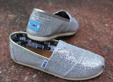 Toms Classic Youth Silver Glitter Flats Slip-On Shoes