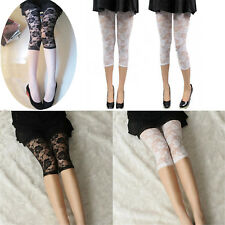 Ladies Short Cropped Stretchy Jeggings Trim Lace Bottom Womens Leggings Pant  WR