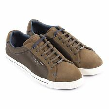 Ted Baker Men's Eeril Suede / Textile Lace Up Trainer Dark Green