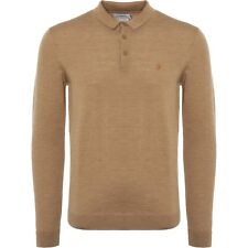 "FARAH VINTAGE ""MAIDWELL"" 100% MERINO WOOL KNITTED POLO SAND, NEW! MOD-CASUAL"