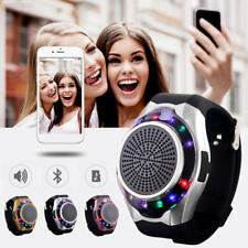 06AC Wireless Bluetooth Watch LED FM Stereo Speaker For Smartphone Tablet