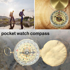 24FD Compass Brass Pocket Watch Style Outdoor Camping Navigation Practical
