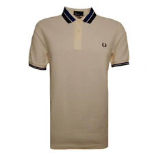 FRED PERRY Men's Ecru Bold Tipped Pique Polo Shirt.