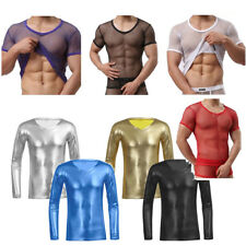 Men Mesh Top T-Shirt Clubwear Fishnet Training GYM Muscle Tank Top Undershirt