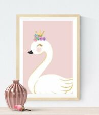 Girls Princess Swan Print Modern Pink Baby Nursery Wall Art Picture Flower Crown
