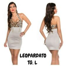 Koucla Mini Dress Abito Tubino Con Corpetto Leopardato Fascia Multibottons Oro