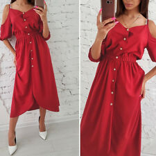 Sexy Women Summer Boho Strappy Dress Ladies Button Half Dresses Long Maxi Dress