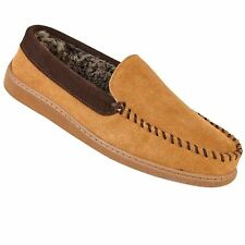 Mens Faux Fur Lining Suede Leather Slip On Warm Loafer Moccasin Slippers