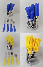 24 Piece Coloured Handle Stainless Steel Cutlery Set With Stand Stylish Dining