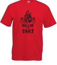 T-shirt Maglietta J2257 Fast Motor and Skull Born To Ride Since 1987 Compleanno
