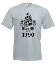 T-shirt Maglietta J2260 Fast Motor and Skull Born To Ride Since 1990 Compleanno