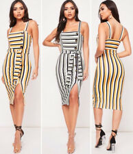 Womens Ladies Front Button Stripe Print Strappy Bodycon Midi Dress Size UK 8-14