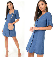 Womens Ladies Short Sleeve Button Down Denim Shirt Dress Top Size UK 8-14