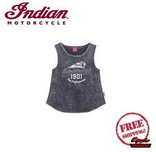 GENUINE INDIAN MOTORCYCLE BRAND TANK TOP WOMENS LADIES GRAY SNOW WASH NEW