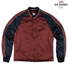 Ben Sherman Snap Anteriore Luxe Giacca Bombergiacca Bomber Ruggine - Nuovo