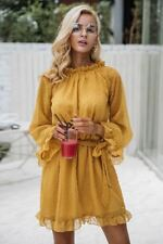 Women Fashion Lace Up Backless Yellow Color Long Sleeve Mesh Dress