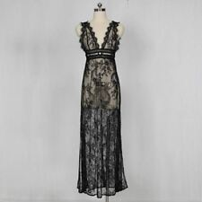 Women Backless See Through Lace Decorated Black Color Maxi Dress